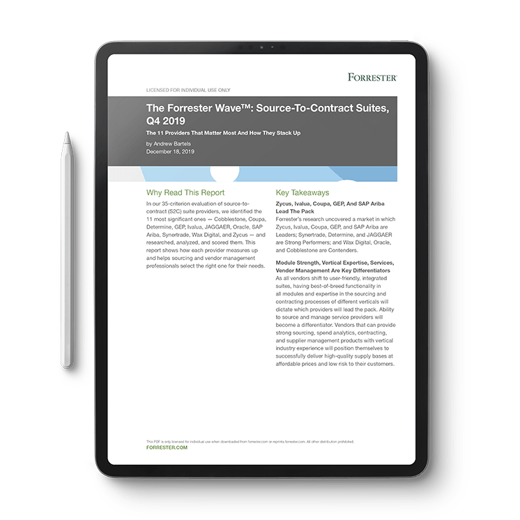 The Forrester Wave™ Source-To-Contract Suites, Q4 2019