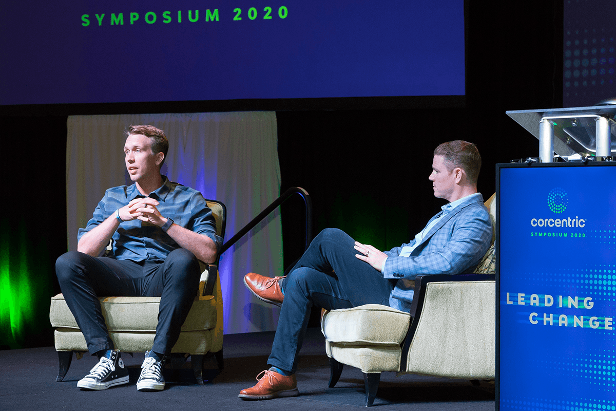 Nick Foles and Matt Clark at Corcentric Symposium 2020