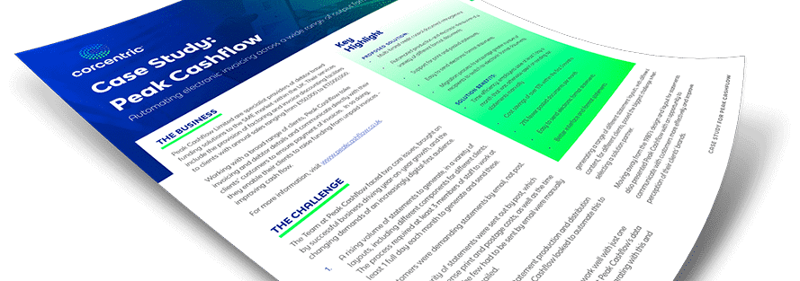Corcentric Case Study: Peak Cashflow - Automating Electronic Invoicing Across a Wide Range of Output Formats