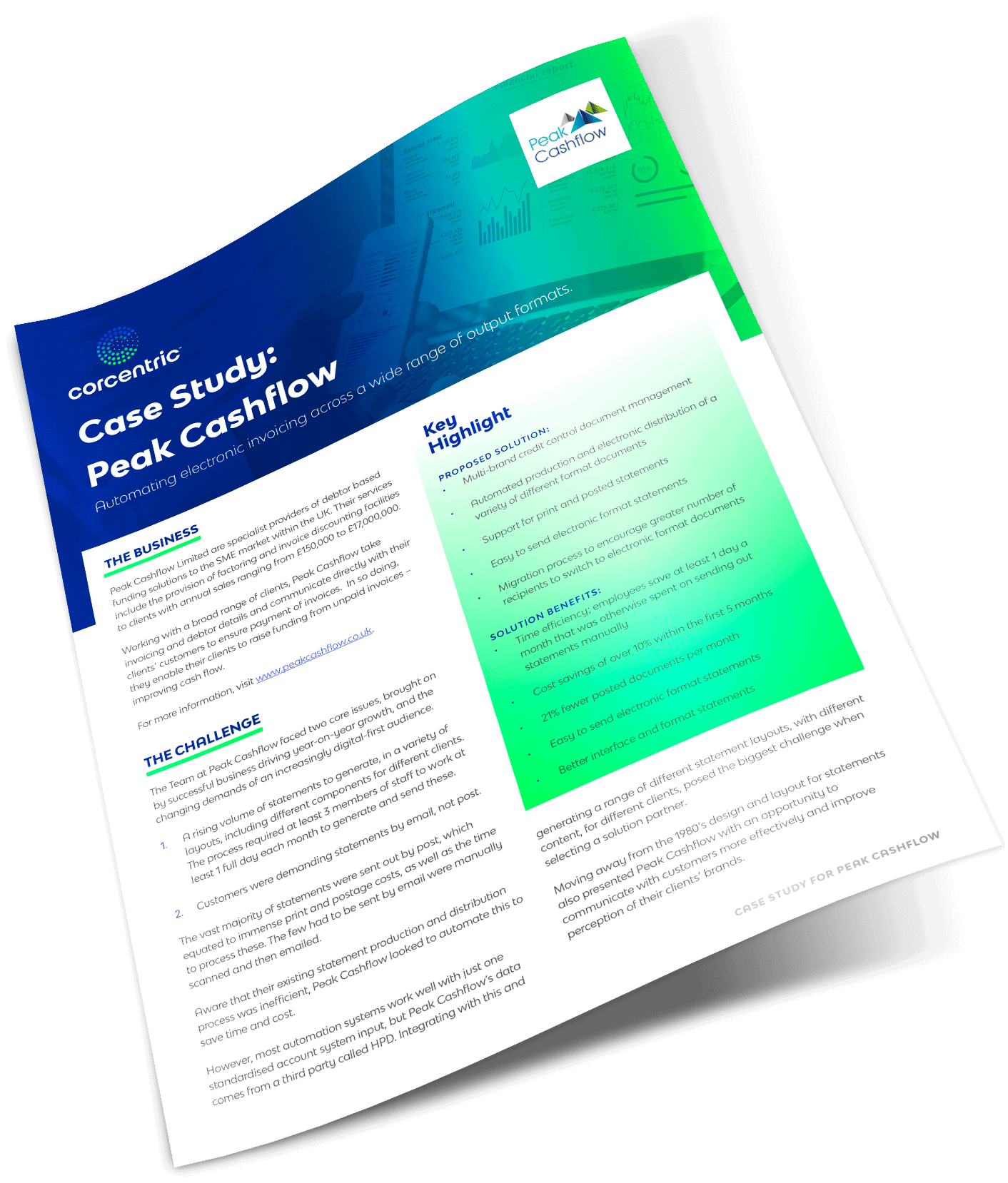 Corcentric Case Study: Peak Cashflow - Authorizing Electronic Invoicing Across a Wide Range of Output Formats