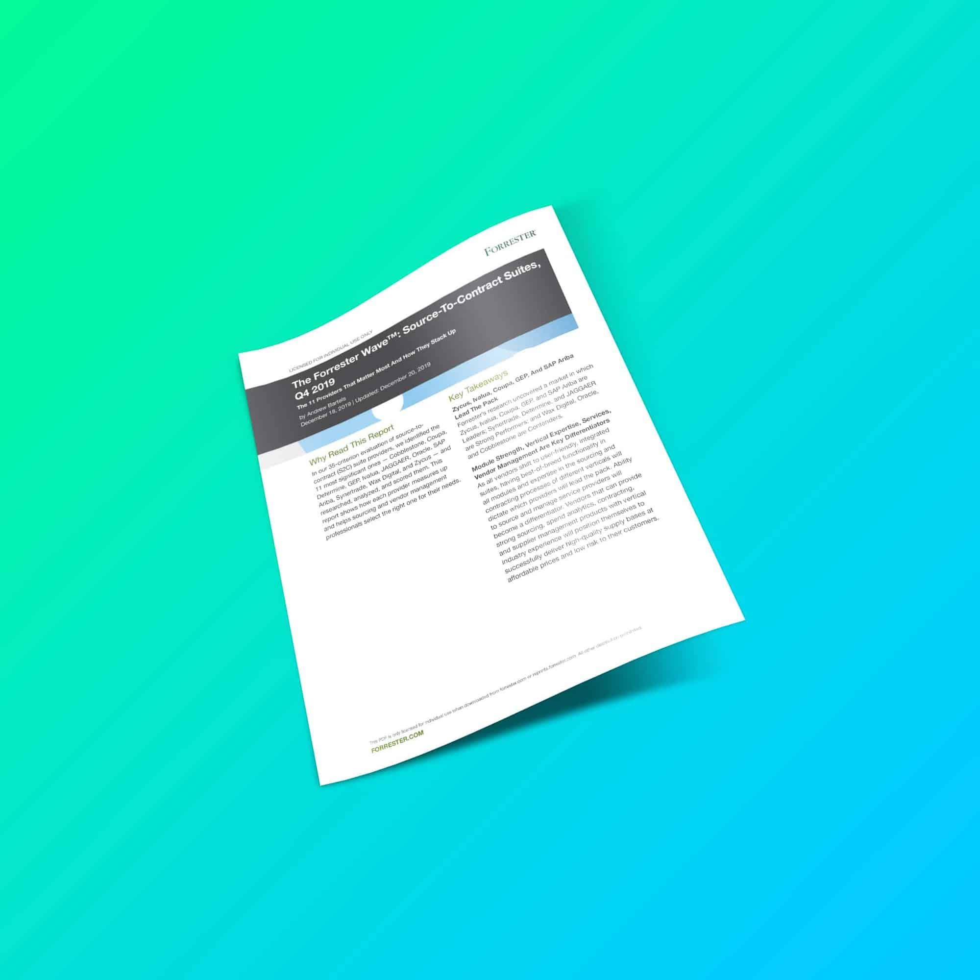 Rapport The Forrester Wave: Source-To-Contract Suites, Q4 2019 (en anglais)